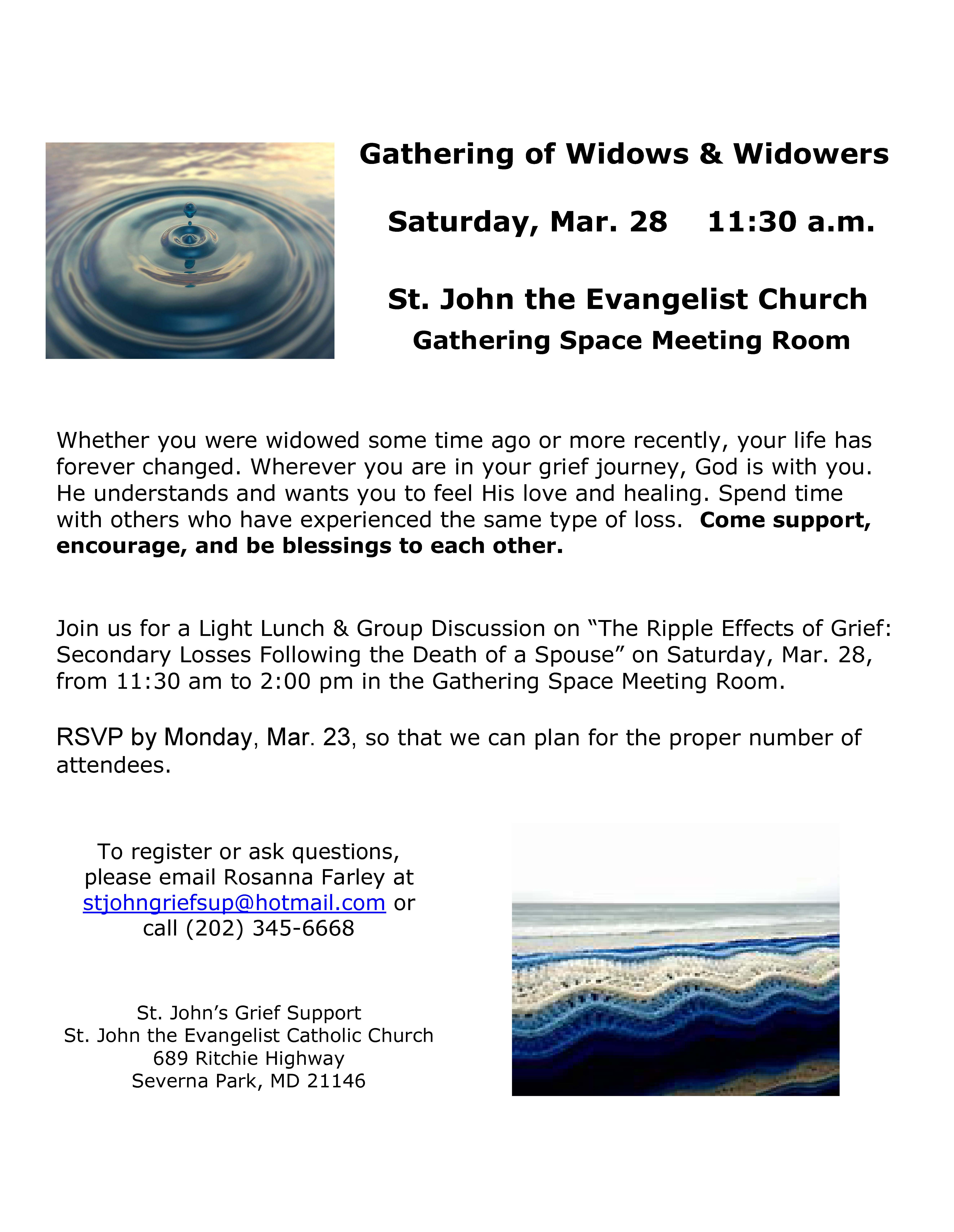 2020 03 28 Widowed Gathering Flyer St Johns SP